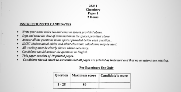Maranda High School Post Mock Form 4 Chemistry Paper 1 (September, 2019)