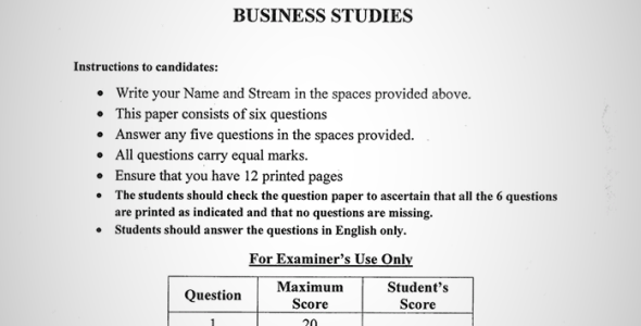 Maranda High School Form 4 Business Paper 2 (July, 2019)