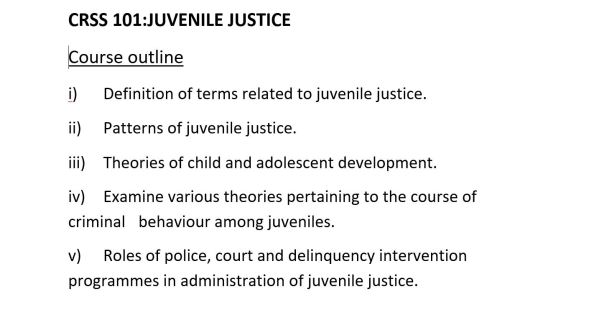 Notes on Introduction to juvenile justice system, CRSS 101