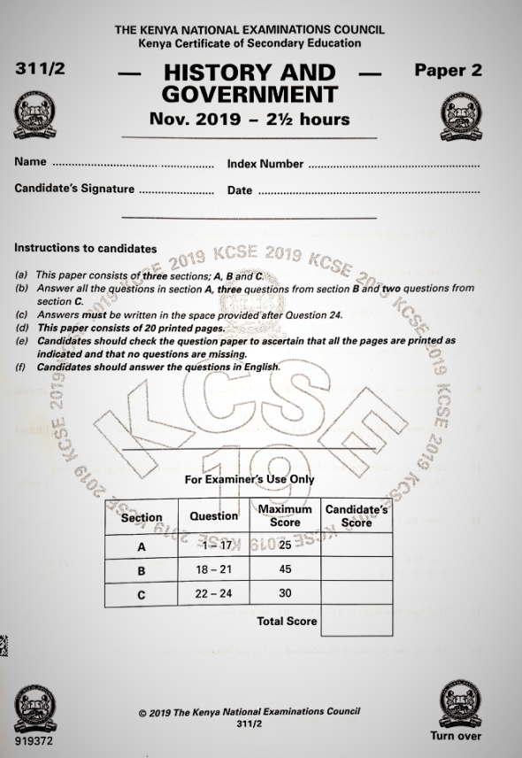 KCSE 2019 History and Government Paper 2