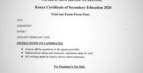 Maranda High School Chemistry Paper 1 Mid-Term 1 2020 Past Paper