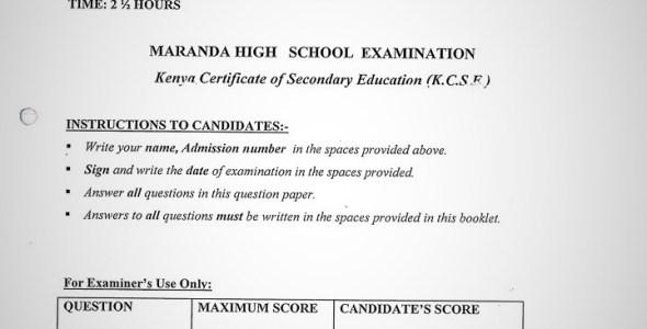 Maranda High School English Paper 2 Mid-Term 1 2020 Past Paper
