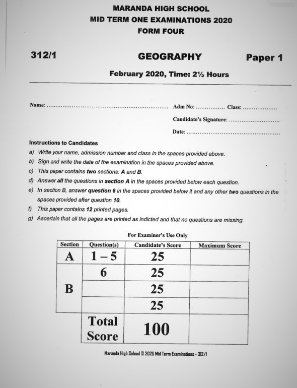 Maranda High School Geography Paper 1 Mid-Term 1 2020 Past Paper