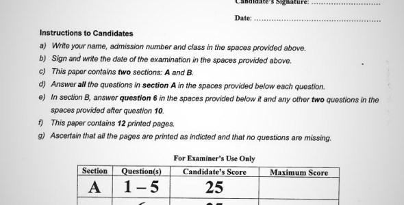 Maranda High School Geography Paper 1 Mid-Term 1 2020 Past Paper