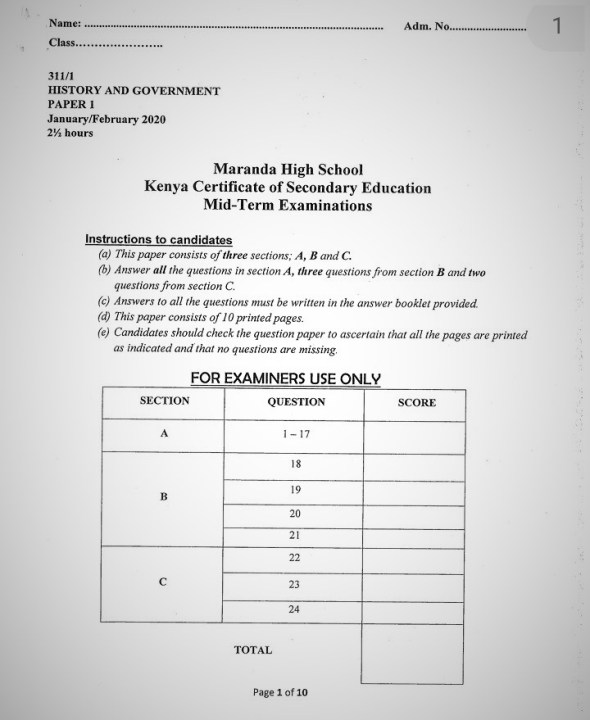Maranda High School History Paper 1 Mid-Term 1 Form 4 2020 Past Paper