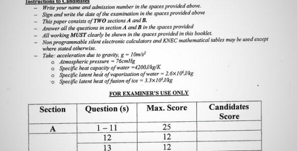 Maranda High School Physics Paper 1 Mid-Term 1 Form 4 2020 Past Paper