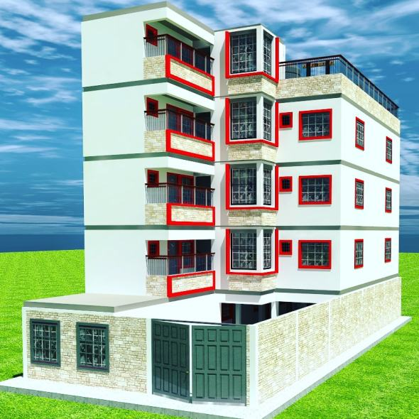 5 story apartment house plan