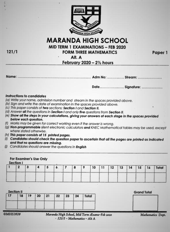 Maranda Mathematics Form 3 Paper 1 Mid-Term 1