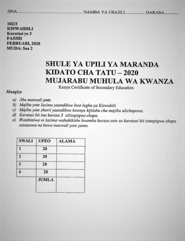 Maranda Kiswahili Form 3 Paper 3 Mid-Term 1