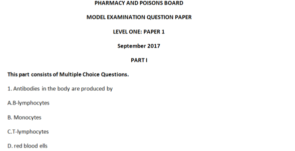 Pharmacy and Poisons Board Model Exam Level One Paper 1, 2017