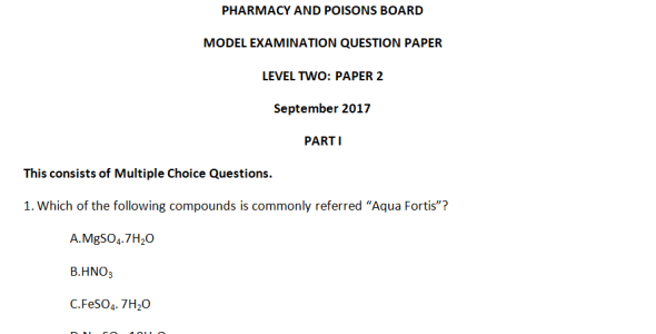 Pharmacy and Poisons Board Model Exam Level Two Paper 2, 2017