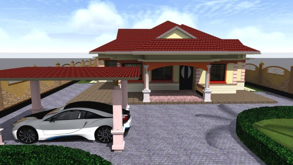 Four Bedroom Bungalow House Plan