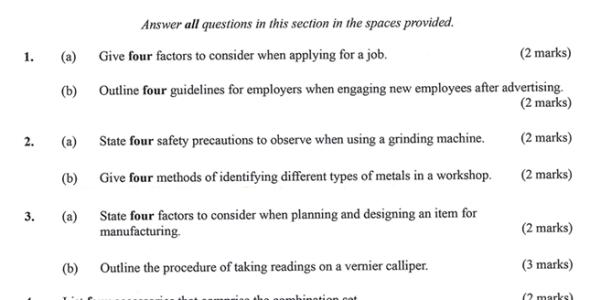 KNEC KCSE 2019 Metal Work Paper 1 (Past Paper with Marking Scheme)