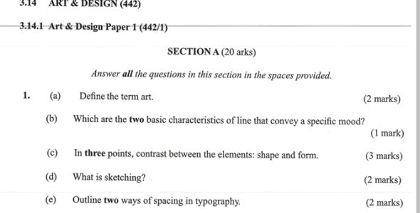 KNEC KCSE 2019 Art & Design Paper 1 (Past Paper with Marking Scheme)