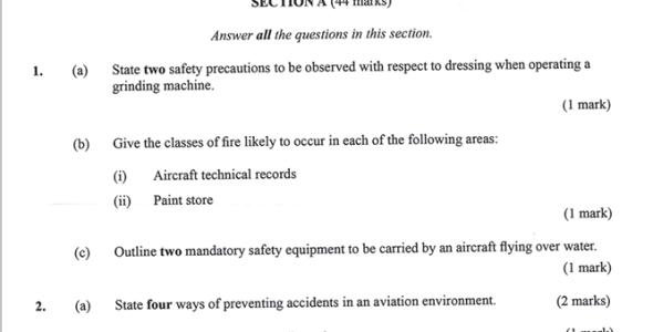 KNEC KCSE 2019 Aviation Technology Paper 1 (Past Paper with Marking Scheme)