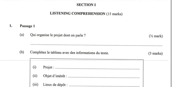 KNEC KCSE 2019 French Paper 1 (Past Paper with Marking Scheme)