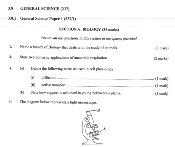KNEC KCSE 2019 General Science Paper 1 (Past Paper with Marking Scheme)