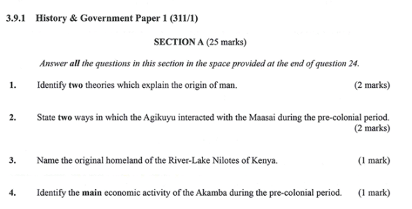 KNEC KCSE 2019 History & Government Paper 1 (Past Paper with Marking Scheme)