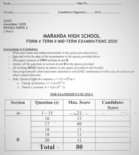 Maranda Pre-Mock Physics Form 4 Paper 2 (2020 Past Paper)