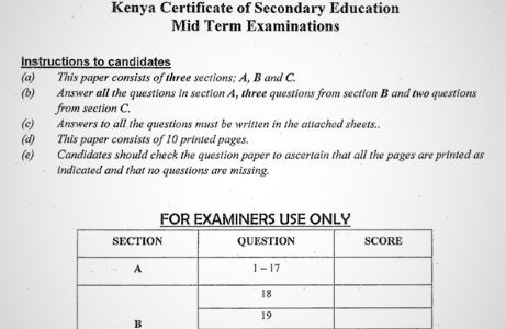 Maranda Pre-Mock History & Government Form 4 Paper 1 (2020 Past Paper)