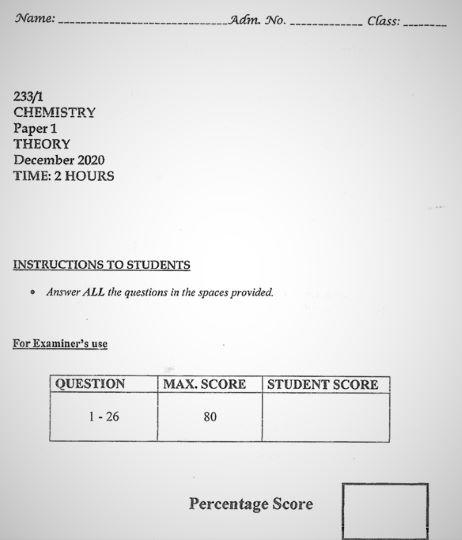 Moi High School Kabarak Mock Chemistry Paper 1 Mock 2020 Past Paper