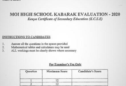 Moi High School Kabarak Mock Biology Paper 3 Mock 2020 Past Paper