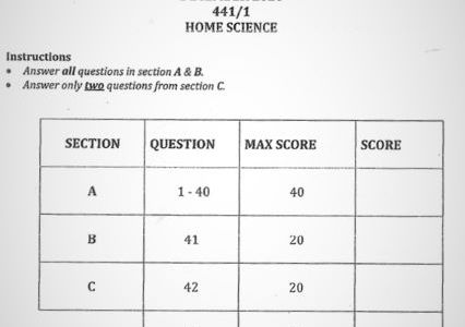 Moi High School Kabarak Home Science Paper 1 Mock 2020 Past Paper