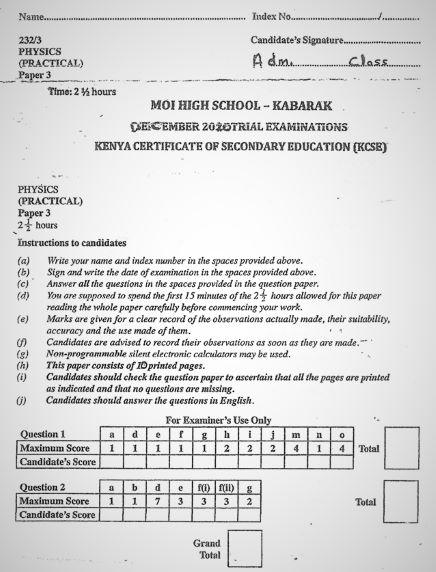 Moi High School Kabarak Physics Paper 3 Mock 2020 Past Paper