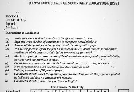 Moi High School Kabarak Physics Paper 3 Mock 2020 Past Paper