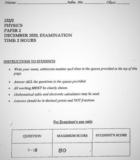 Moi High School Kabarak Physics Paper 2 Mock 2020 Past Paper
