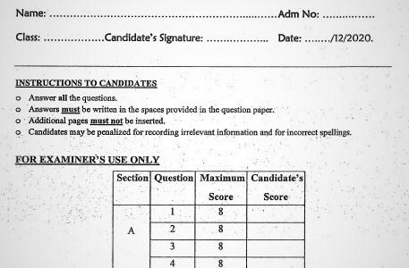 Maranda High School Mock Biology Paper 2 2020 (With Marking Scheme)