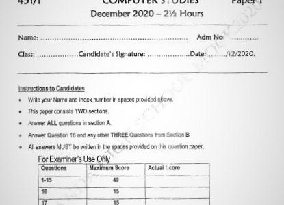 Maranda Mock Computer Studies Paper 1 2020 (With Marking Scheme)