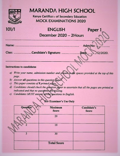 Maranda Mock English Paper 1 2020 (With Marking Scheme)