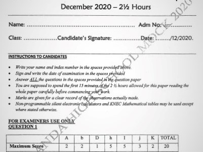 Maranda Mock Physics Paper 3 2020(With Marking Scheme)