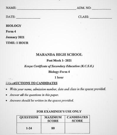 Maranda Post-Mock Biology Paper 1 2021 (With Marking Scheme)