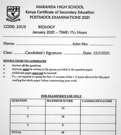Maranda Post-Mock Biology Paper 3 2021 (With Marking Scheme)