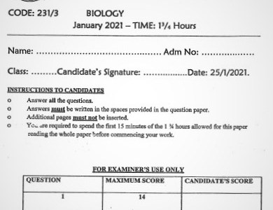 Maranda Post-Mock Biology Paper 3 2021 (With Marking Scheme)