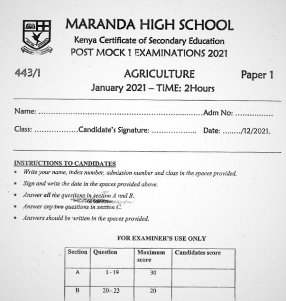Maranda Post-Mock Agriculture Paper 1 2021 (With Marking Scheme)