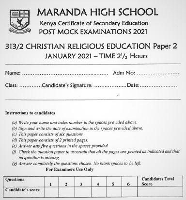 Maranda Post-Mock Christian Religious Education Paper 2 2021