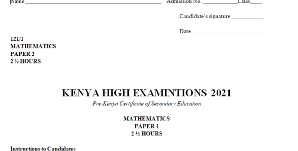 Kenya High Mock Mathematics Paper 2 2021 (With Marking Scheme)