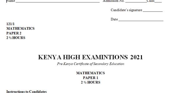 Kenya High Mock Mathematics Paper 2 2021 (With Marking Scheme)