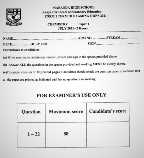 Maranda Chemistry Form 1 End of Term 3 2021