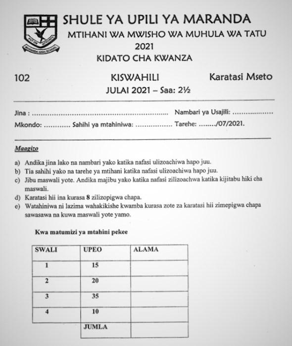 Maranda Kiswahili Form 1 End of Term 3 2021