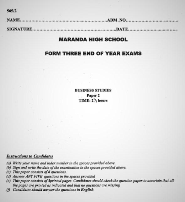 Maranda Business PP2 Form 3 End of Term 3 2021