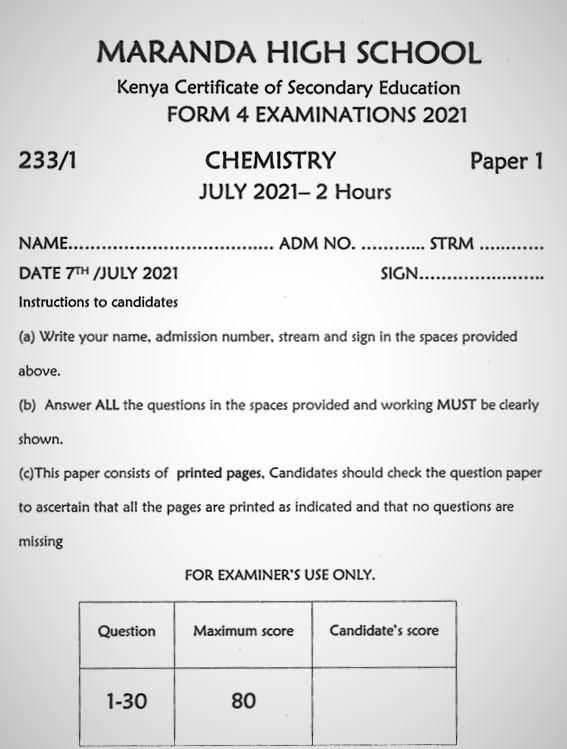 Maranda Chemistry PP1 Form 3 End of Term 3 2021