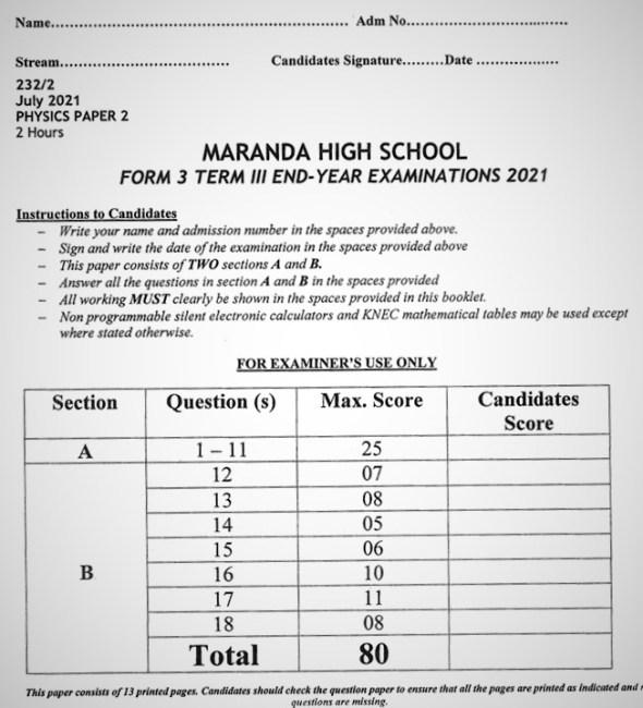 Maranda Physics PP2 Form 3 End of Term 3 2021