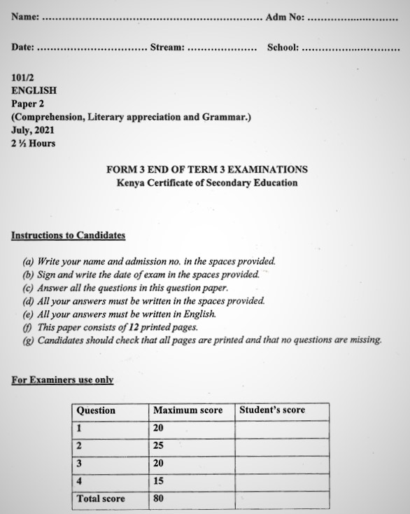 Maranda English PP2 Form 3 End of Term 3 2021