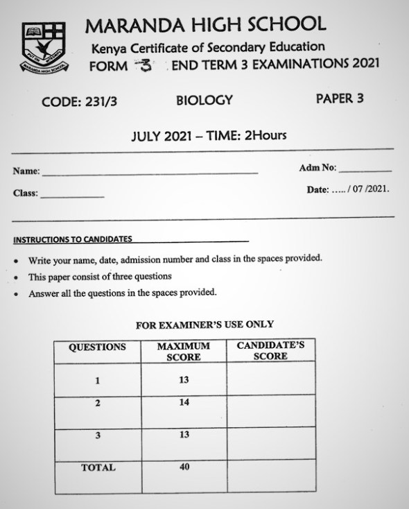 Maranda Biology PP3 Form 3 End of Term 3 2021