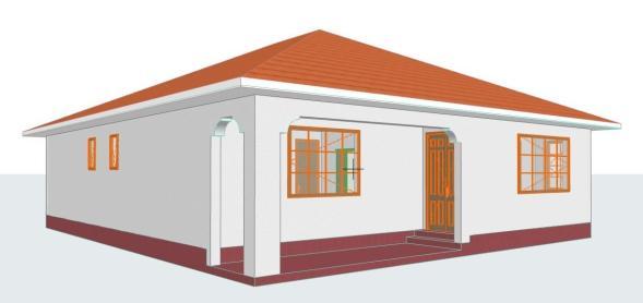 2 Bedroomed Residential House Plan
