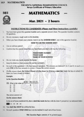 2020 KCPE KNEC Mathematics Past Paper